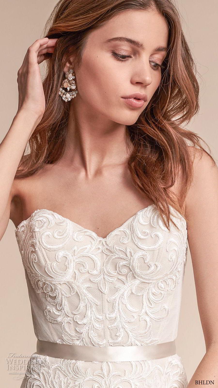 bhldn fall 2017  americana bridal strapless sweetheart neckline full embellishment elegant trumpet mermaid wedding dress chapel train (alice) zv