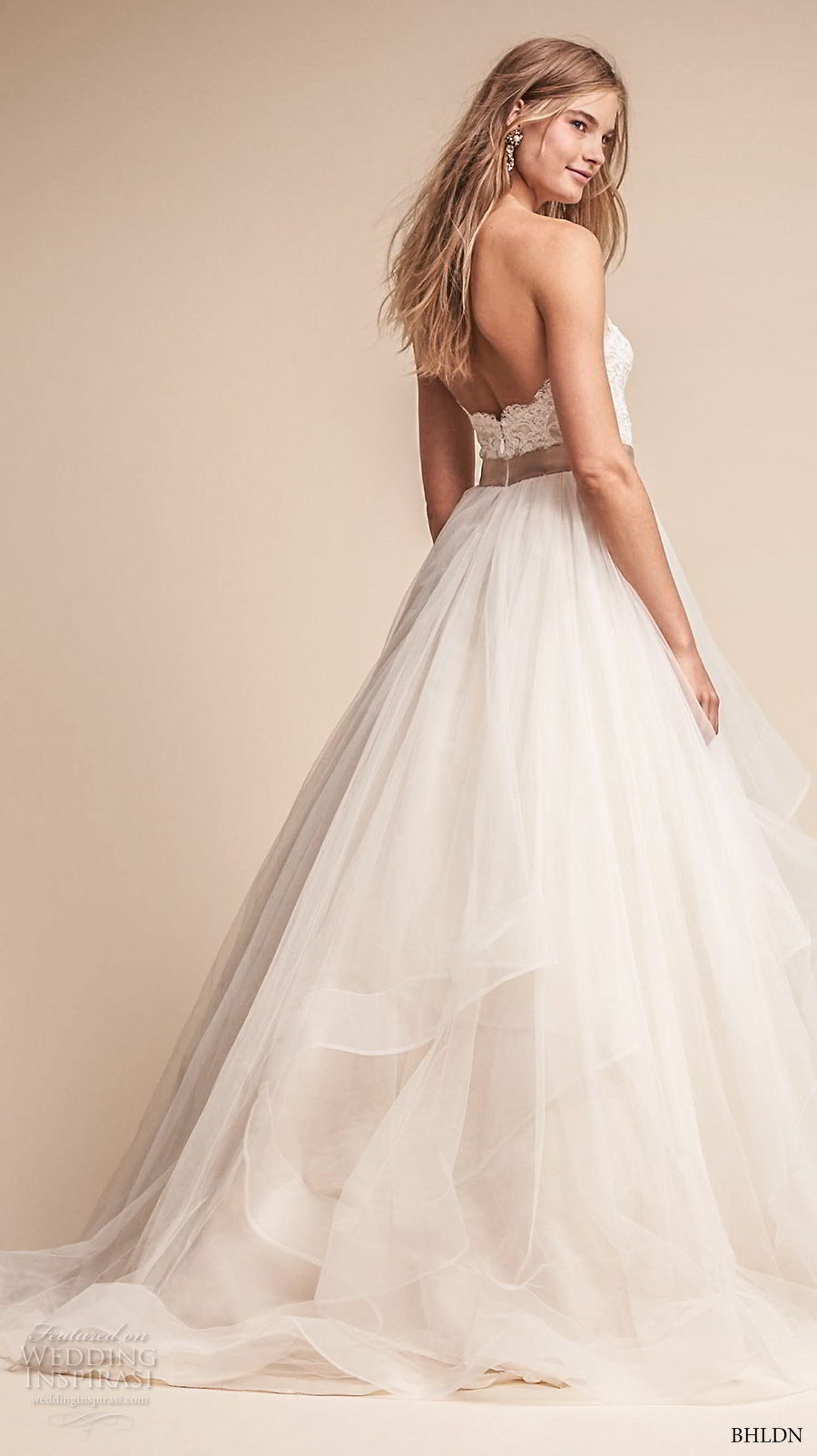 bhldn fall 2017  americana bridal strapless sweetheart neckline heavily embellished bodice layered skirt romantic a  line wedding dress sweep train (rowena) bv