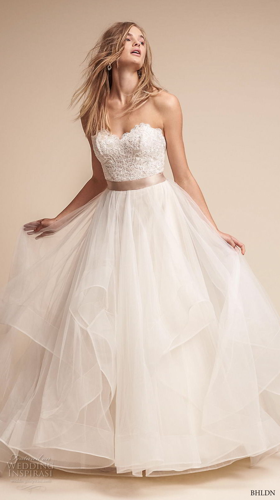 bhldn fall 2017  americana bridal strapless sweetheart neckline heavily embellished bodice layered skirt romantic a  line wedding dress sweep train (rowena) mv
