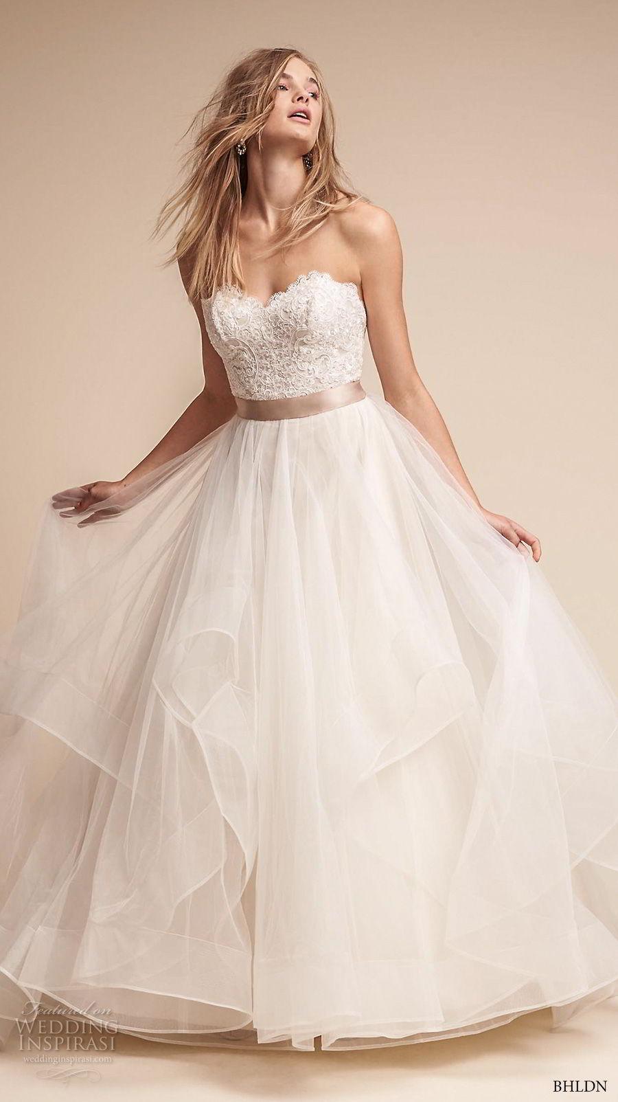 bhldn fall 2017  americana bridal strapless sweetheart neckline heavily embellished bodice layered skirt romantic a  line wedding dress sweep train (rowena) mv