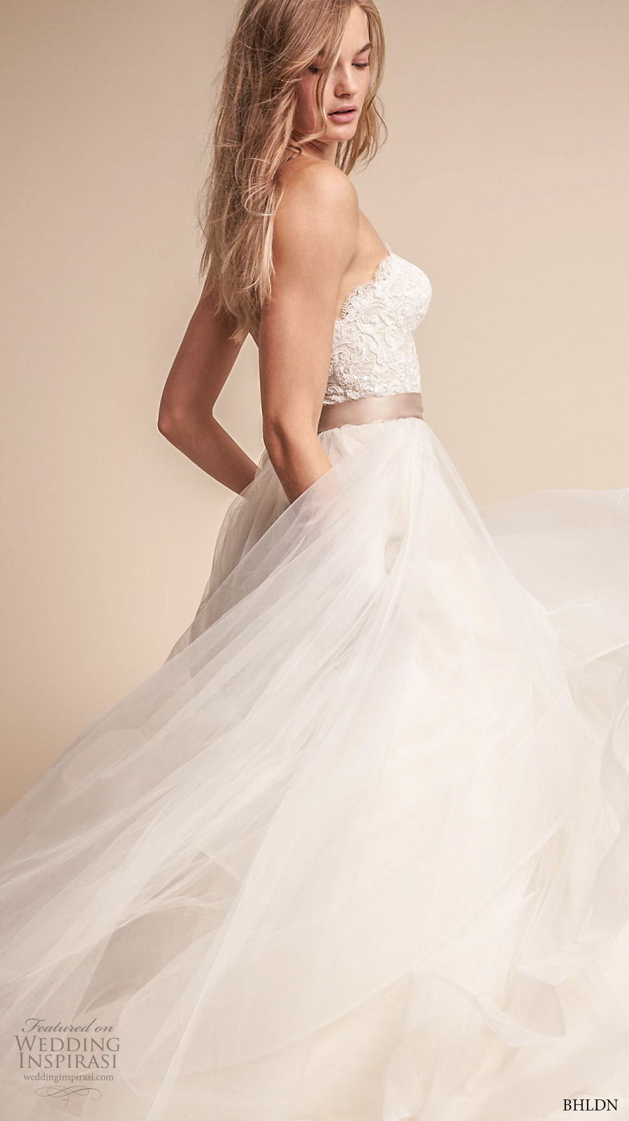 bhldn fall 2017  americana bridal strapless sweetheart neckline heavily embellished bodice layered skirt romantic a  line wedding dress sweep train (rowena) sdv