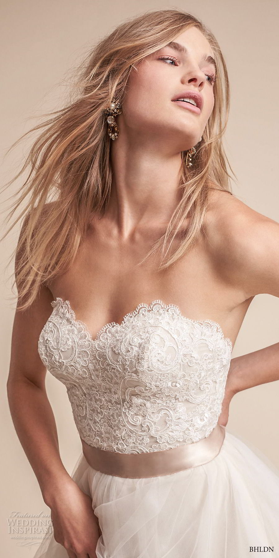 bhldn fall 2017  americana bridal strapless sweetheart neckline heavily embellished bodice layered skirt romantic a  line wedding dress sweep train (rowena) zv