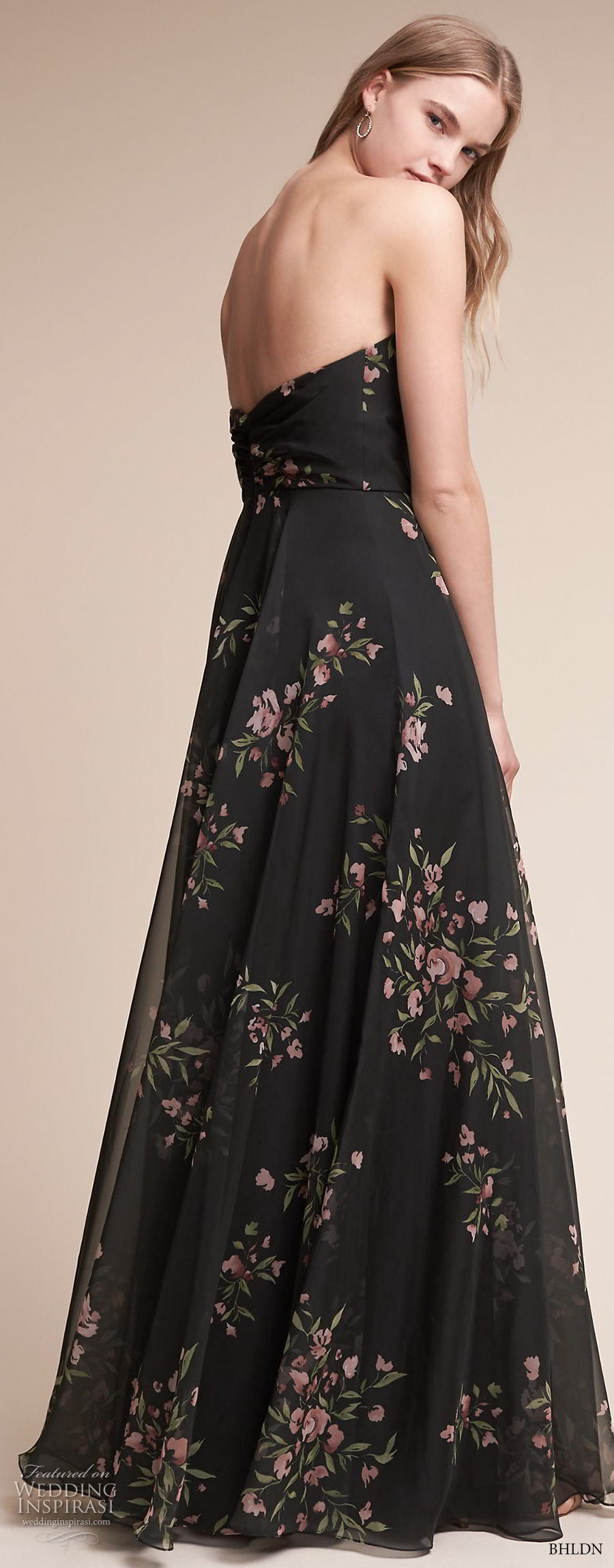 bhldn fall 2017  americana bridal strapless sweetheart neckline ruched wrap over bodice flora prints black color high waist soft a  line wedding dress sweep train (adeline) bv
