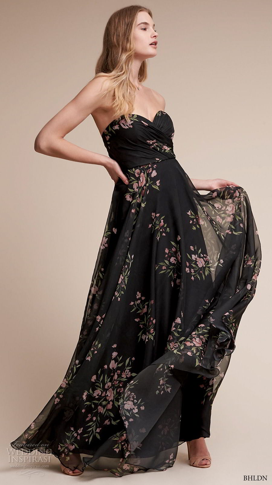bhldn fall 2017  americana bridal strapless sweetheart neckline ruched wrap over bodice flora prints black color high waist soft a  line wedding dress sweep train (adeline) mv