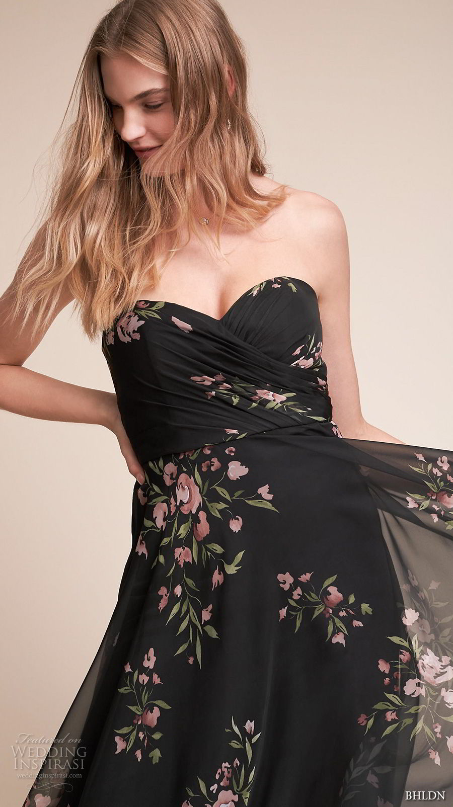 bhldn fall 2017  americana bridal strapless sweetheart neckline ruched wrap over bodice flora prints black color high waist soft a  line wedding dress sweep train (adeline) zv