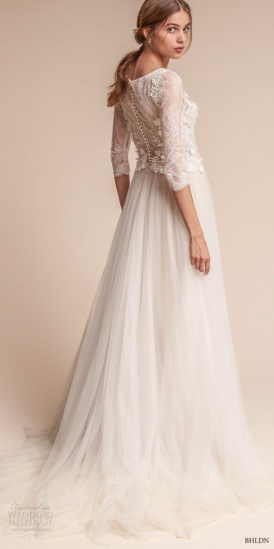 bhldn fall 2017  americana bridal three quarter sleeves bateau neck heavily embellished bodice tulle skirt romantic soft a  lne wedding dress covered lace back sweep train (amelia) bv