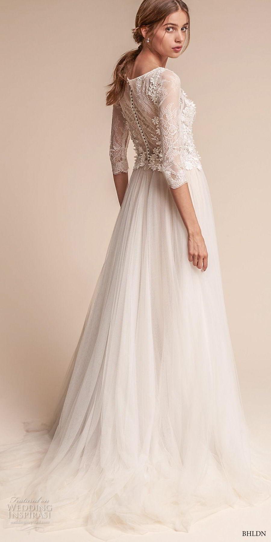 bhldn fall 2017  americana bridal three quarter sleeves bateau neck heavily embellished bodice tulle skirt romantic soft a  lne wedding dress covered lace back sweep train (amelia) bv