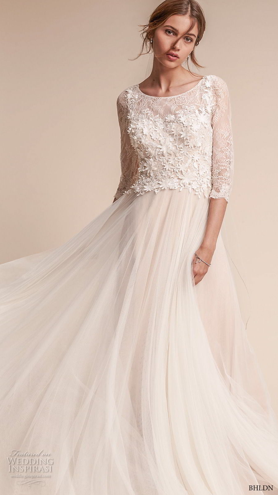 bhldn fall 2017  americana bridal three quarter sleeves bateau neck heavily embellished bodice tulle skirt romantic soft a  lne wedding dress covered lace back sweep train (amelia) mv