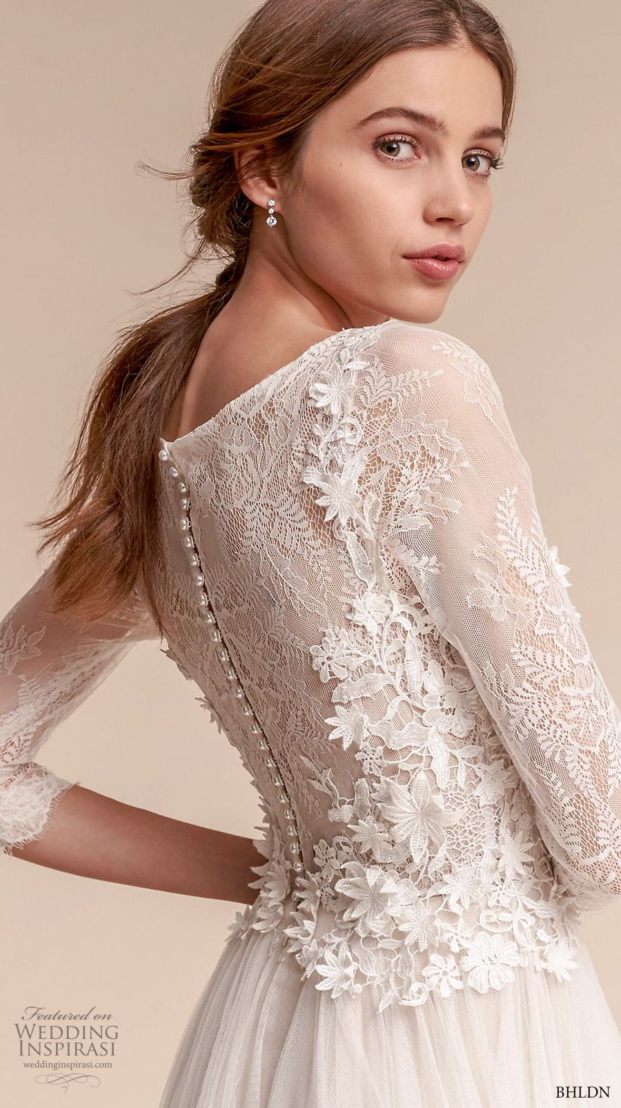 bhldn fall 2017  americana bridal three quarter sleeves bateau neck heavily embellished bodice tulle skirt romantic soft a  lne wedding dress covered lace back sweep train (amelia) zbv