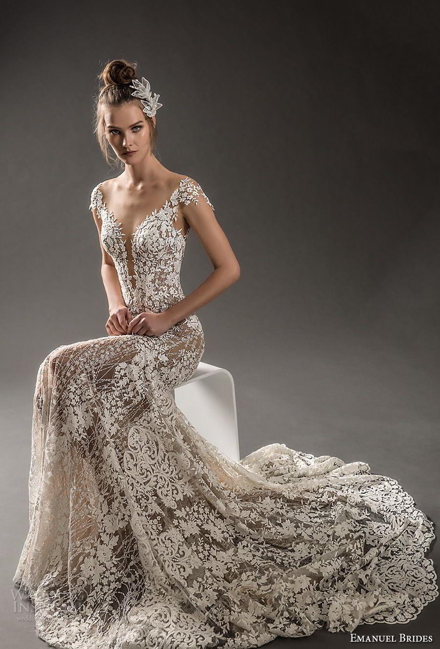 emanuel brides 2018 bridal cap sleeves deep plunging v neck full embellishment elegant sexy fit and flare mermaid wedding dress chapel train (03) mv