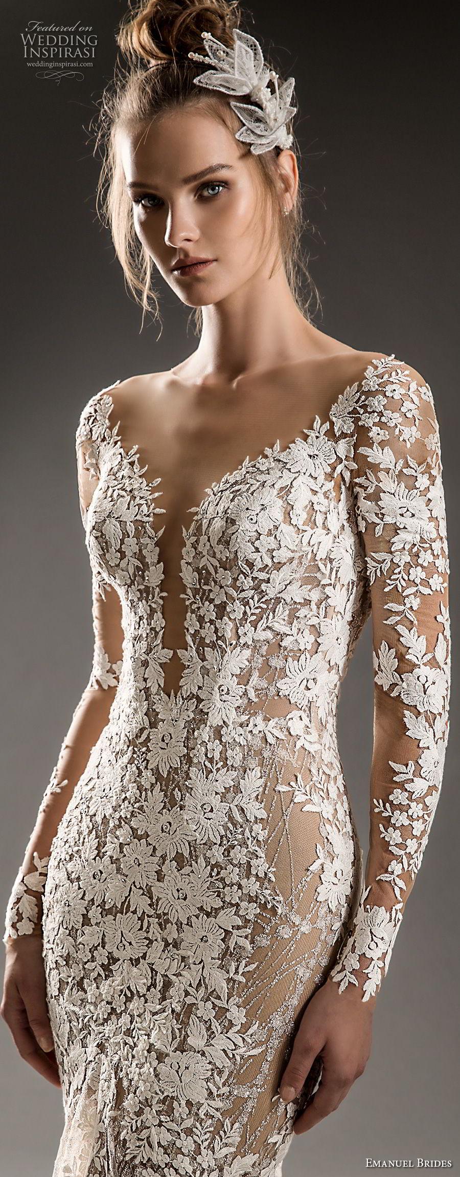 emanuel brides 2018 bridal cap sleeves deep plunging v neck full embellishment elegant sexy fit and flare mermaid wedding dress chapel train (03) zv