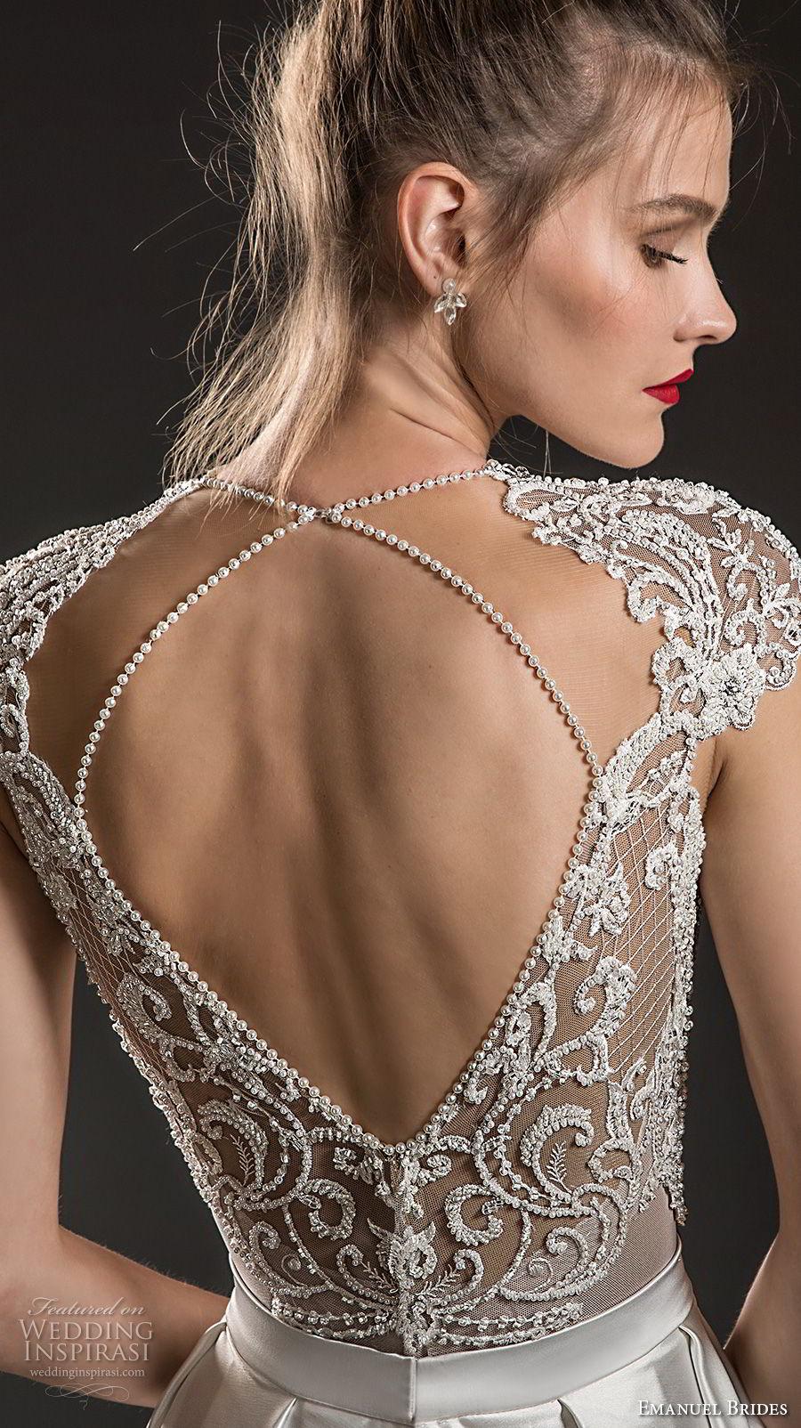 emanuel brides 2018 bridal cap sleeves deep v neck heavily embellished bodice sexy romantic soft a  line wedding dress keyhole back sweep train (12) zbv