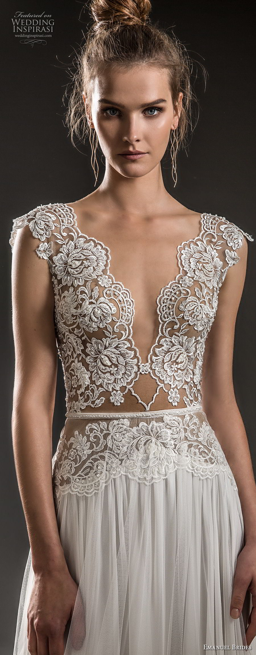 emanuel brides 2018 bridal cap sleeves deep v neck heavily embellished bodice sexy romantic soft a  line wedding dress keyhole back sweep train (12) zv