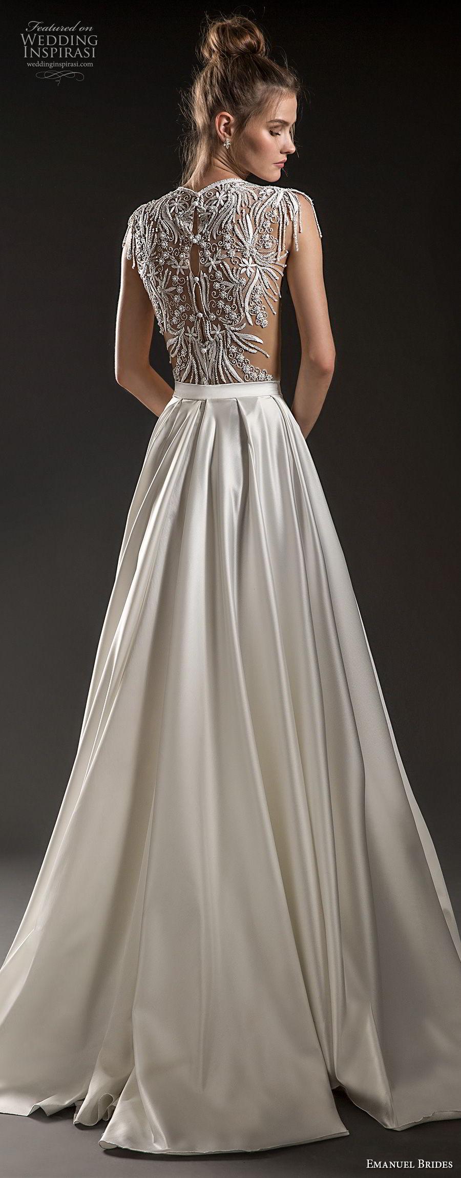 f8a876639 emanuel brides 2018 bridal cap sleeves jewel neckline heavily embellised  bodice crop top satin skirt glamorous
