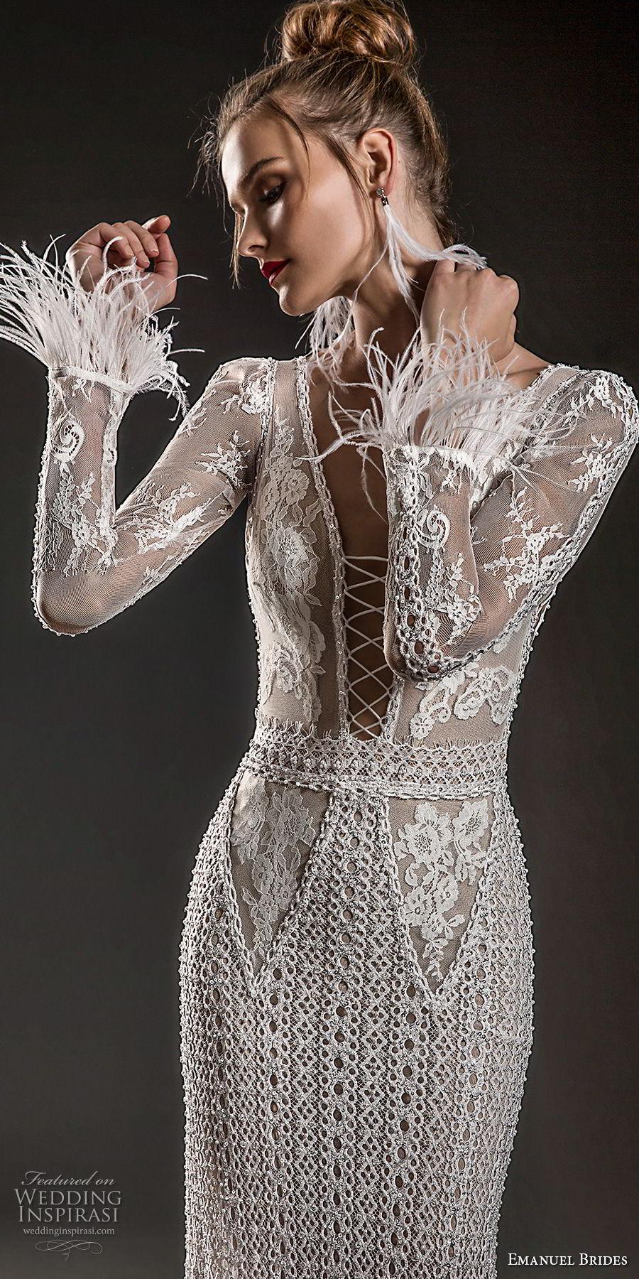 emanuel brides 2018 bridal long sleeves deep plunging v neck full embellishment elegant sexy glamorous sheath wedding dress open v back sweep train (07) zv