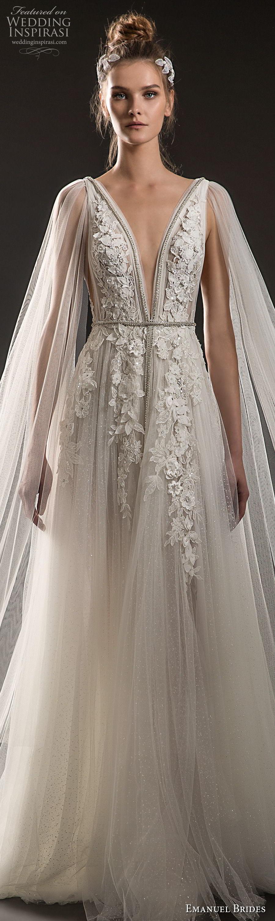 emanuel brides 2018 bridal sleeveless deep plunging v neck heavily embellished bodice elegant romantic soft a  line wedding dress sheer cape open v back sweep train (08) lv