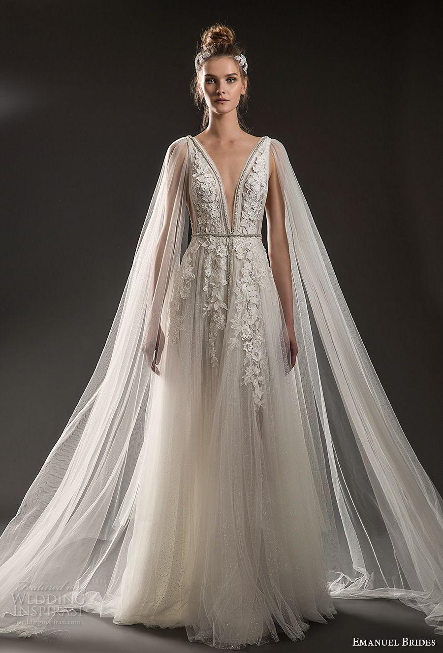 emanuel brides 2018 bridal sleeveless deep plunging v neck heavily embellished bodice elegant romantic soft a  line wedding dress sheer cape open v back sweep train (08) mv