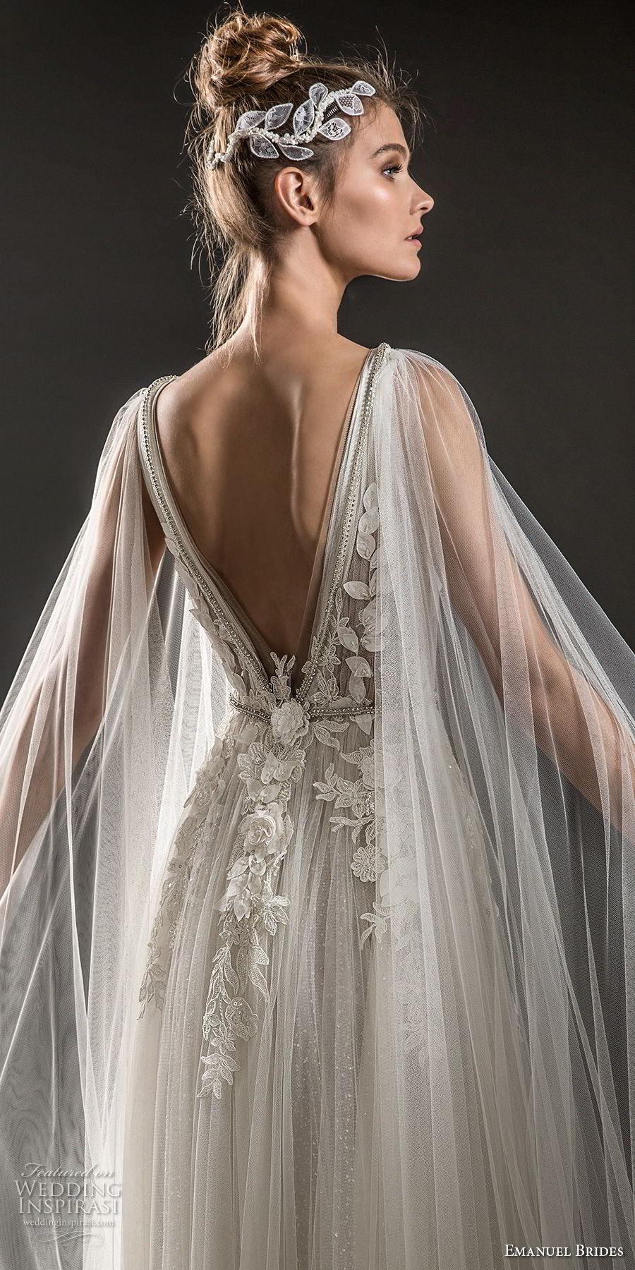 emanuel brides 2018 bridal sleeveless deep plunging v neck heavily embellished bodice elegant romantic soft a  line wedding dress sheer cape open v back sweep train (08) zbv