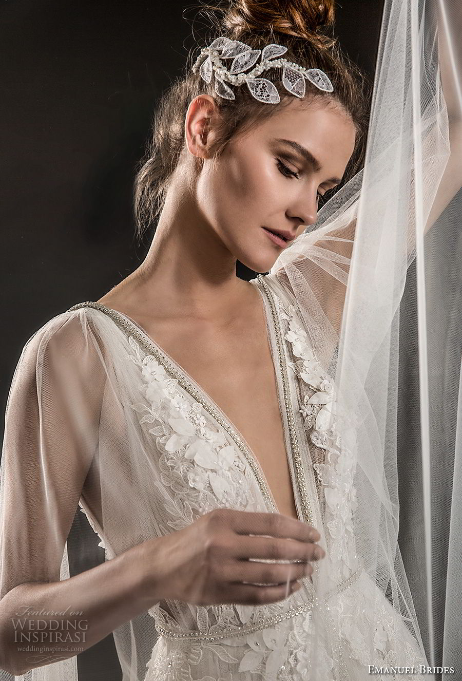 emanuel brides 2018 bridal sleeveless deep plunging v neck heavily embellished bodice elegant romantic soft a  line wedding dress sheer cape open v back sweep train (08) zv
