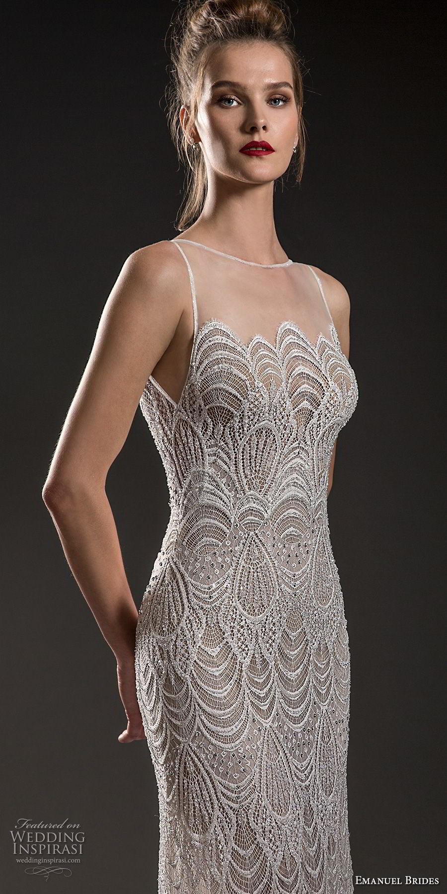 emanuel brides 2018 bridal sleeveless illusion bateau neck full embellishment elegant art deco sheath wedding dress sweep train (18) zv