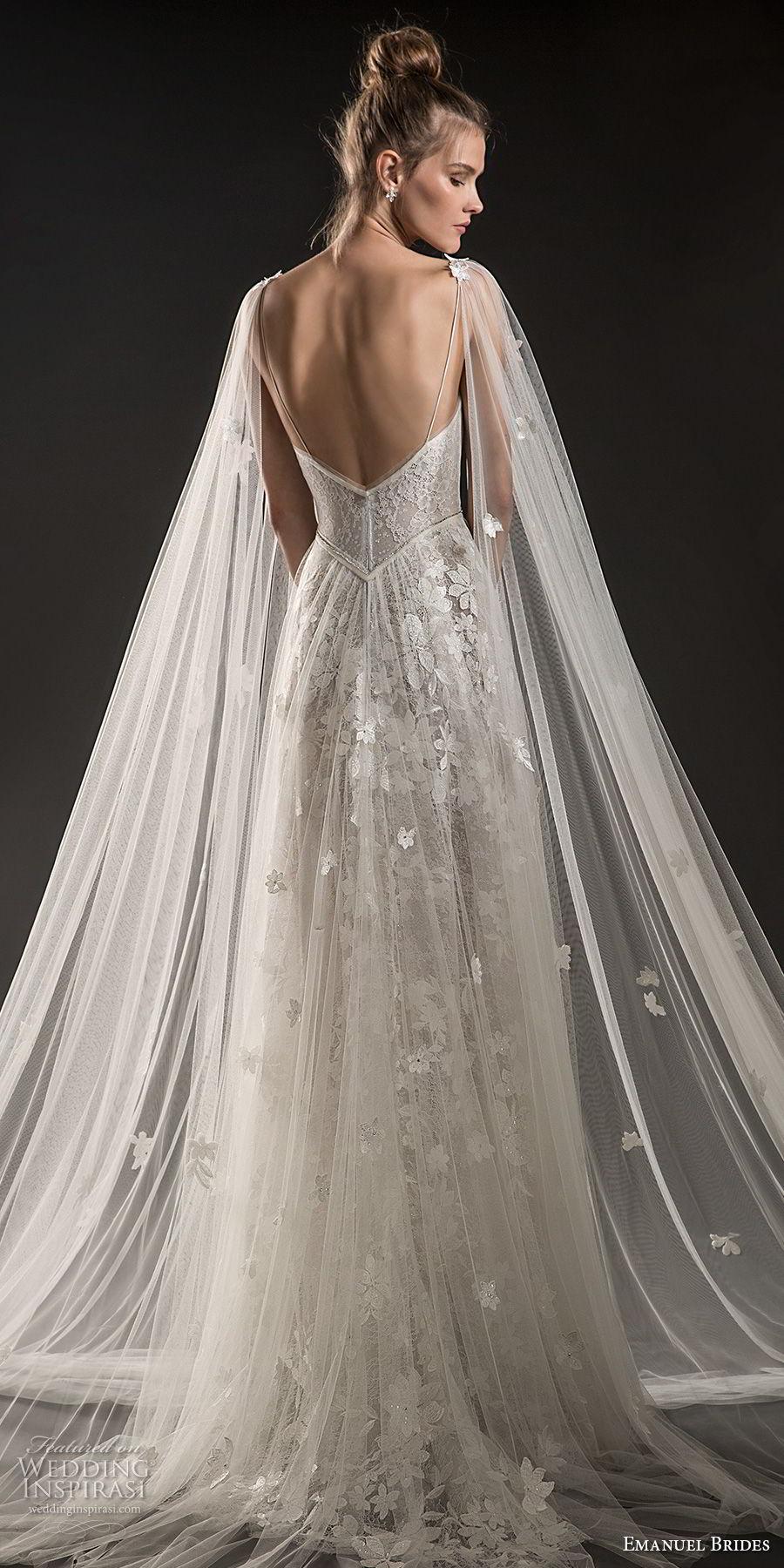 emanuel brides 2018 bridal sleeveless thin strap deep plunging sweetheart neckline full embellishment tulle skirt romantic sexy soft a  line wedding dress medium train (02) bv