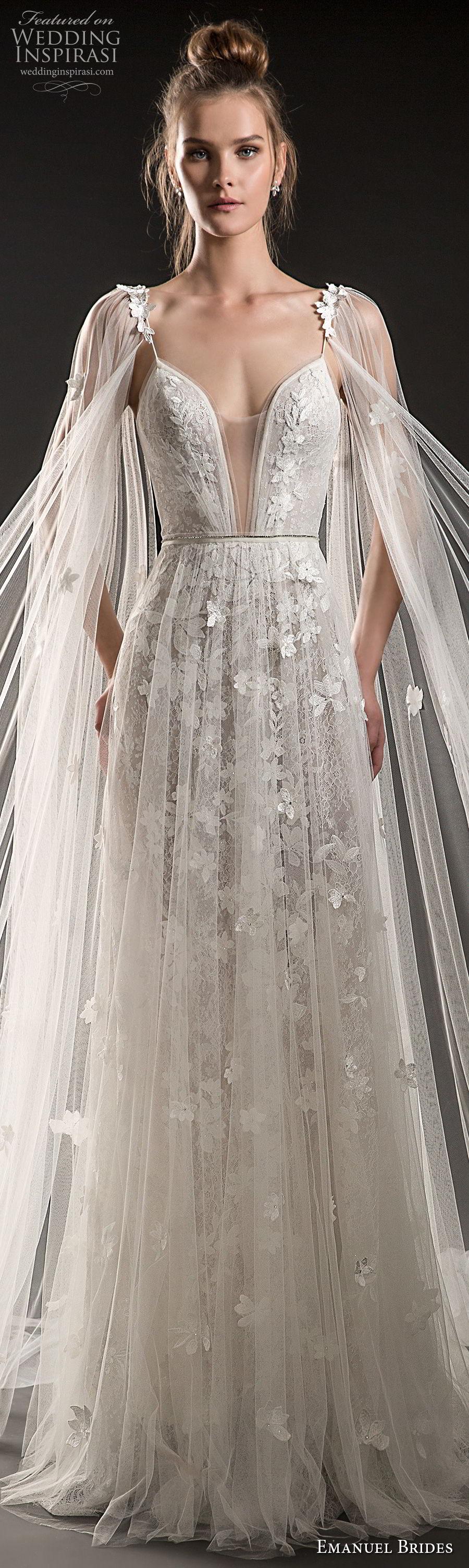 emanuel brides 2018 bridal sleeveless thin strap deep plunging sweetheart neckline full embellishment tulle skirt romantic sexy soft a  line wedding dress medium train (02) lv