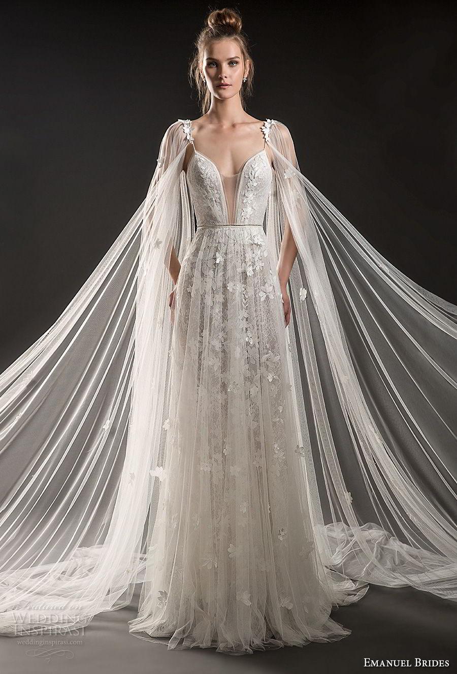 emanuel brides 2018 bridal sleeveless thin strap deep plunging sweetheart neckline full embellishment tulle skirt romantic sexy soft a  line wedding dress medium train (02) mv