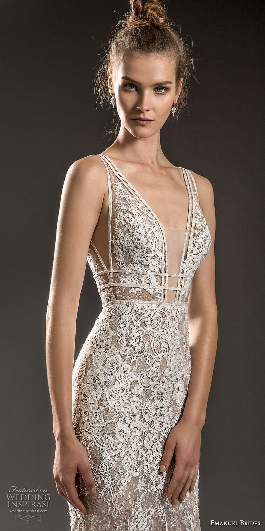 emanuel brides 2018 bridal sleeveless with strap deep plunging v neck full embellishment elegant sexy fit and flare mermaid wedding dress sweep train (10) zv