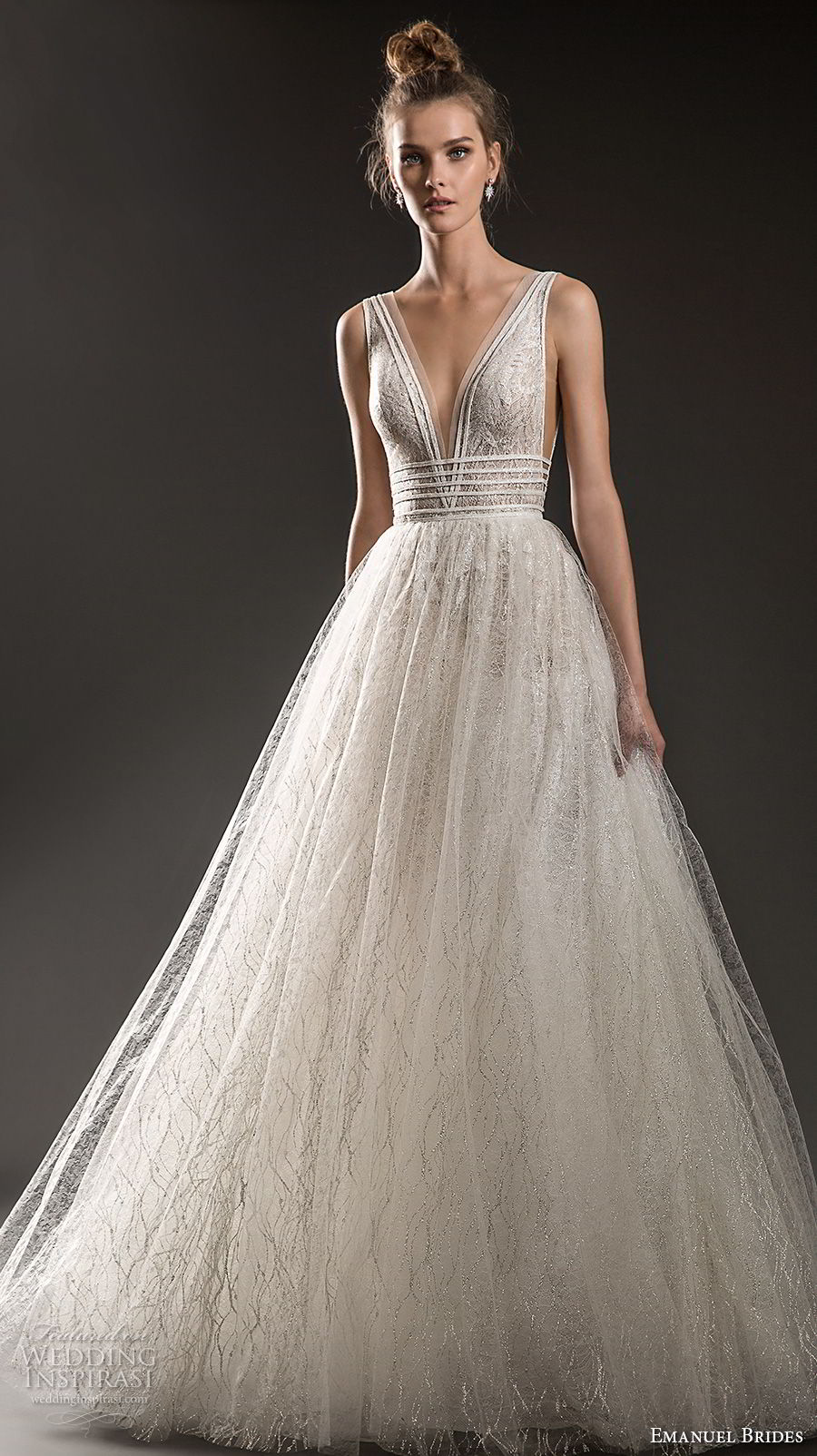 emanuel brides 2018 bridal sleeveless with strap deep plunging v neck side open romantic sexy a  line wedding dress sweep train (11) mv