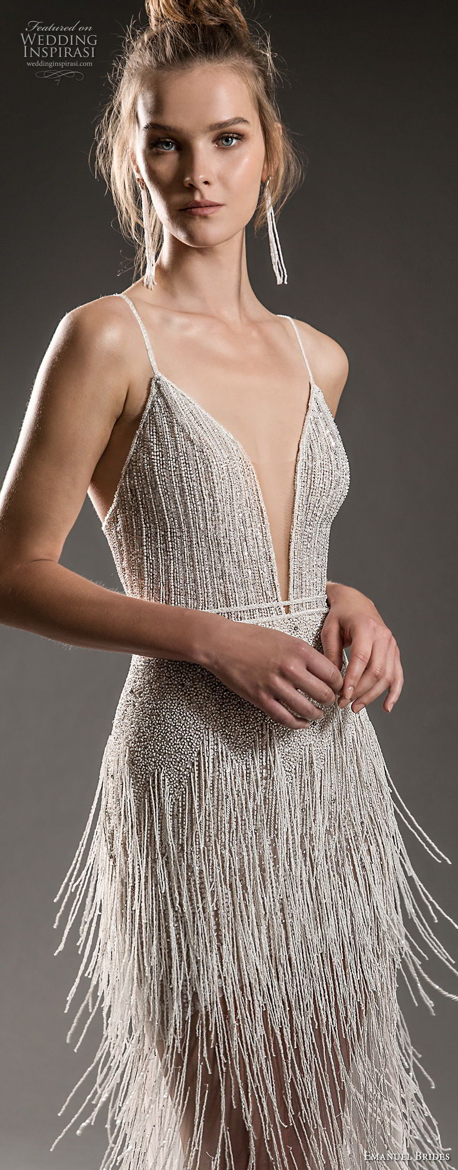 emanuel brides 2018 bridal spaghetti strap deep plugning sweetheart neckline full embellishment fringe skirt elegant glamorous sheath wedding dress (17) zv