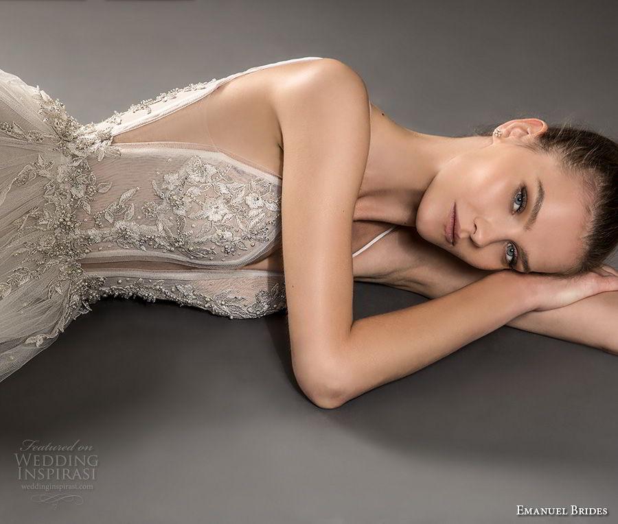 emanuel brides 2018 bridal spaghetti strap deep plunging sweetheart neckline heavily embellished bodice tulle skirt sexy romantic soft a  line weddnig dress sweep train (09) mv
