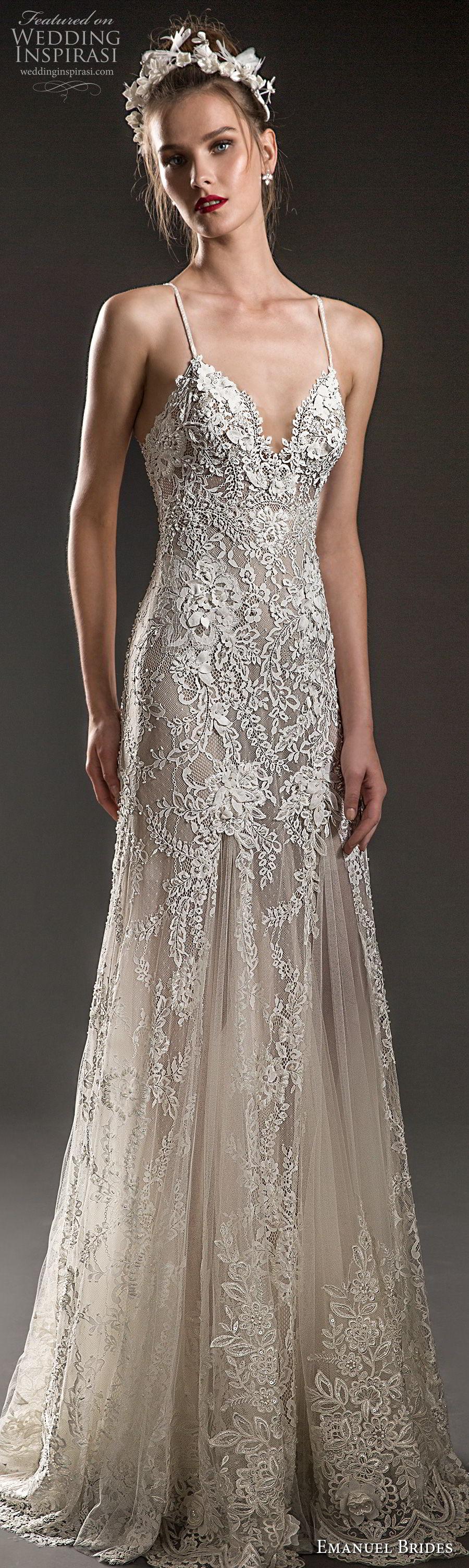 emanuel brides 2018 bridal spaghetti strap sweetheart neckline heavily embellished bodice elegant soft a  line wedding dress sweep train (16) mv