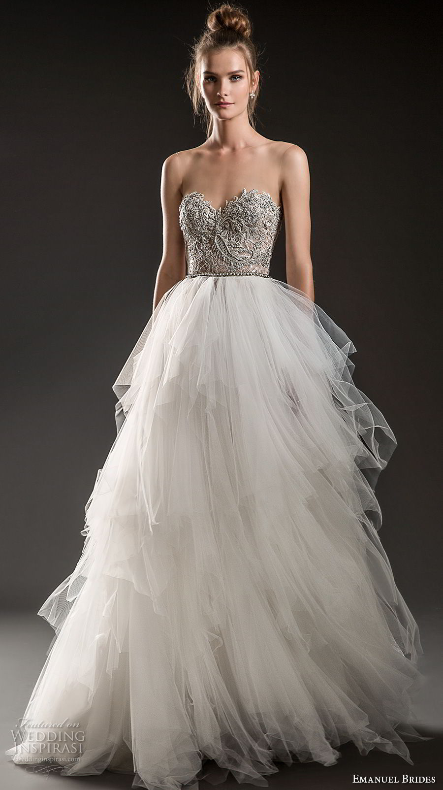 emanuel brides 2018 bridal strapless sweetheart neckline heavily embellished bodice tulle layered skirt romantic glamorous a  line wedding dress sweep train (04) mv