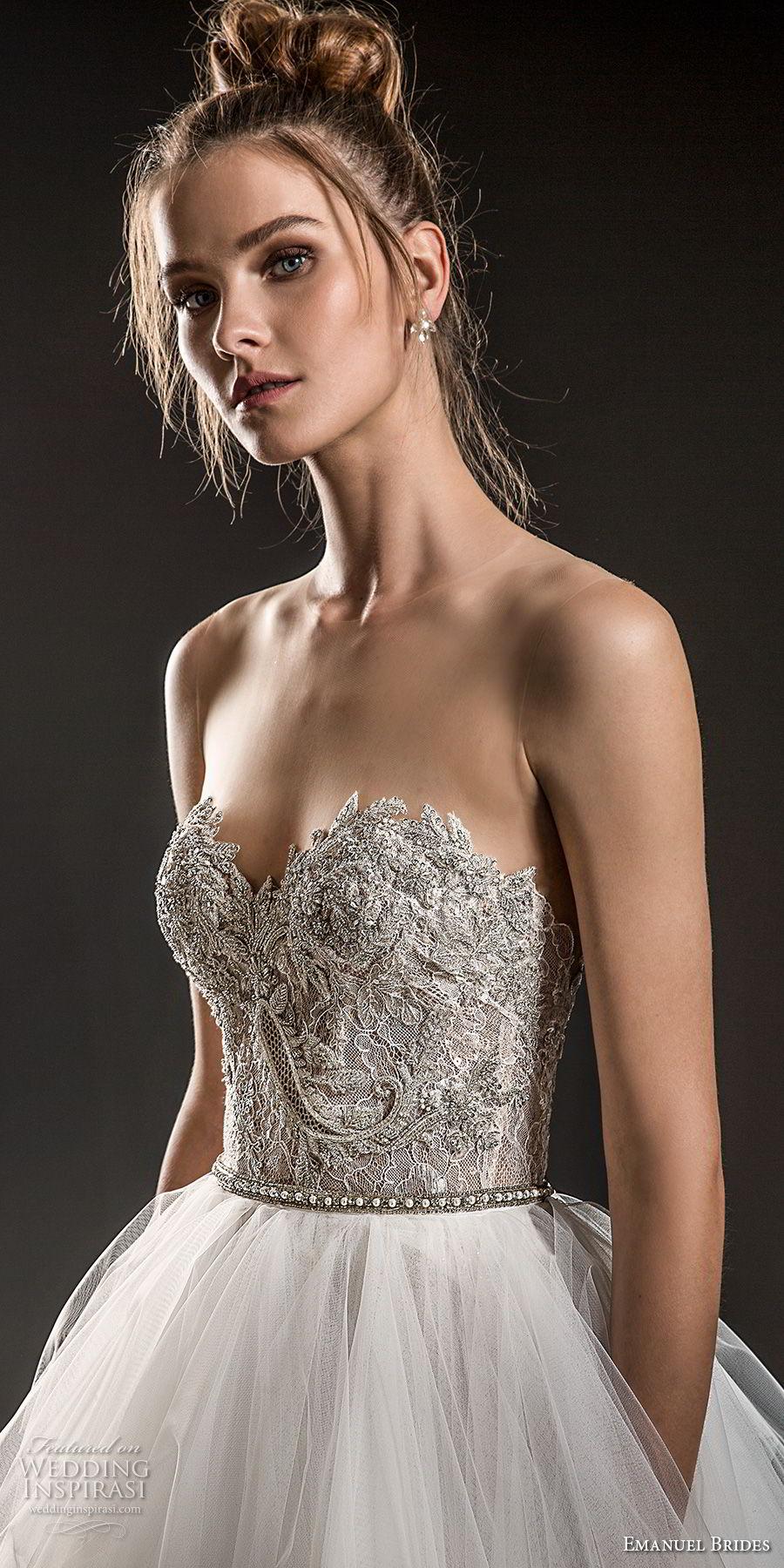 emanuel brides 2018 bridal strapless sweetheart neckline heavily embellished bodice tulle layered skirt romantic glamorous a  line wedding dress sweep train (04) zv