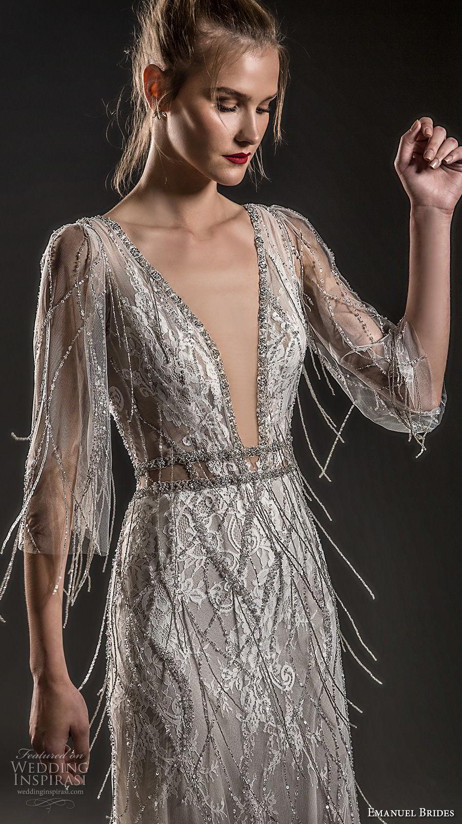 emanuel brides 2018 bridal three quarter sleeves deep plunging v neck full jeweled embellishment fringe bodice elegant glamorous sheath wedding dress open v back sweep train (13) mv