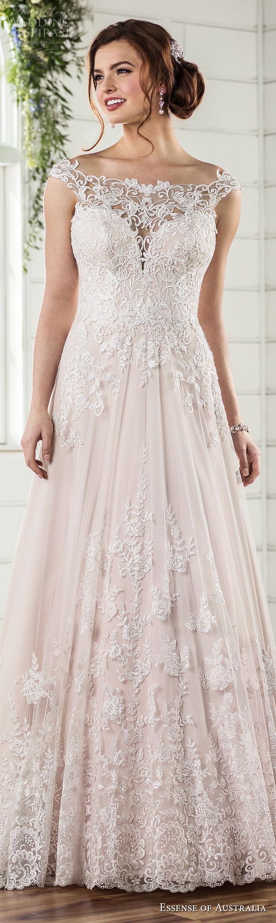 essense australia fall 2017 bridal cap sleeves illusion bateau sweetheart neckline full embellishment romantic blush color a  line wedding dress lace back sweep train (27) lv
