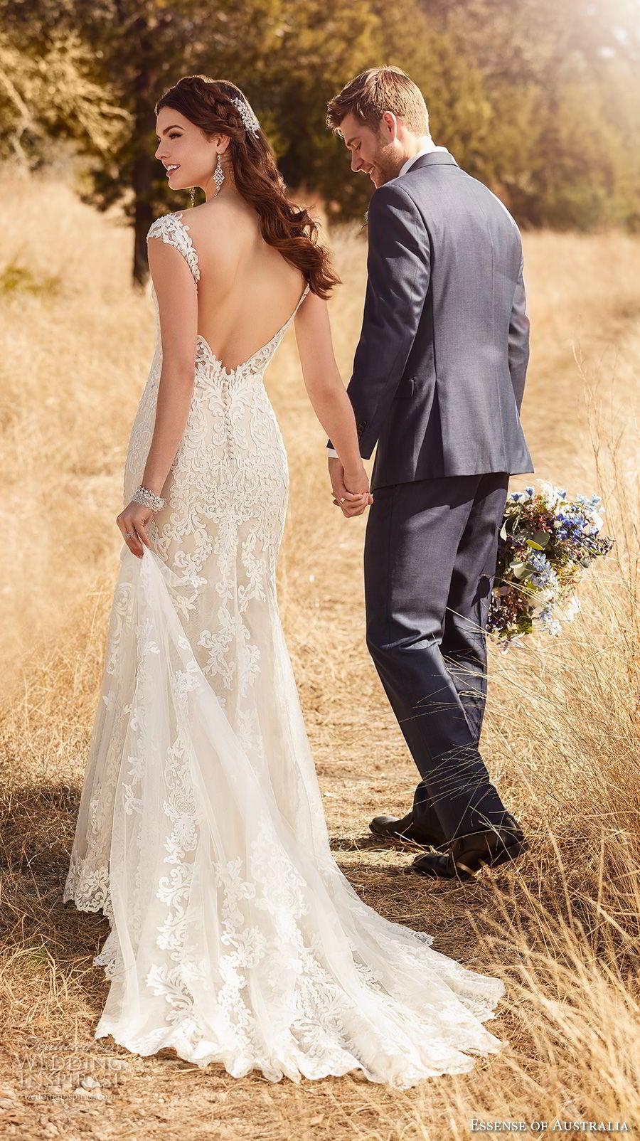 essense australia fall 2017 bridal cap sleeves sweetheart neckline full embellishment elegant fit and flare wedding dress open v back medium train (20) mv bv