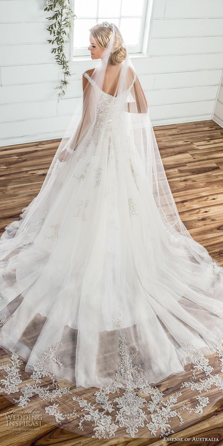 essense australia fall 2017 bridal off the shoulder sweetheart neckline heavily embellished beaded bodice romantic princess ball gown a  line wedding dress chapel train (79) bv