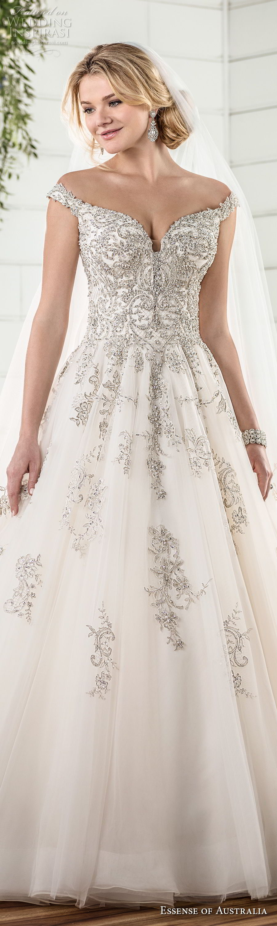 essense australia fall 2017 bridal off the shoulder sweetheart neckline heavily embellished beaded bodice romantic princess ball gown a line wedding dress chapel train (79) lv