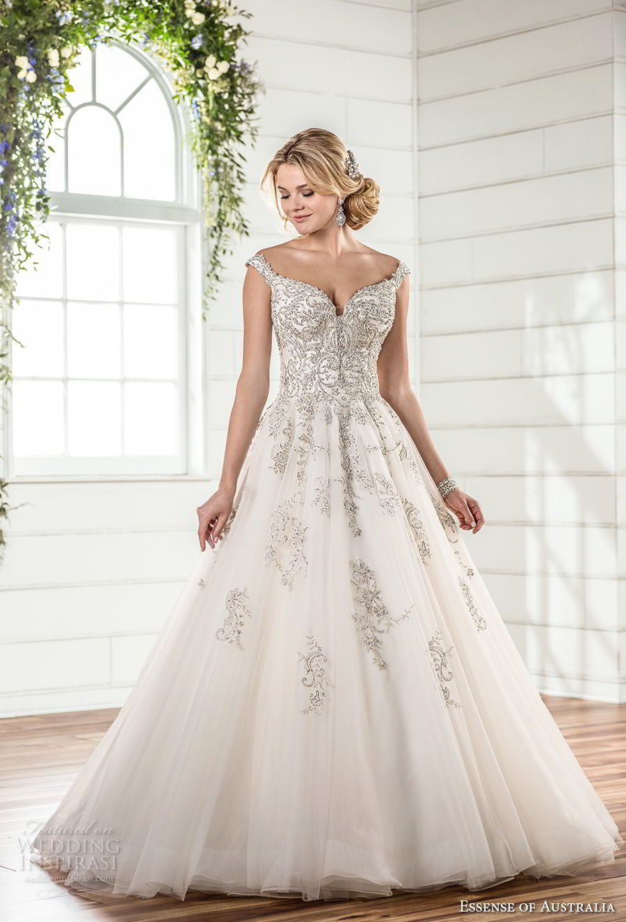essense australia fall 2017 bridal off the shoulder sweetheart neckline heavily embellished beaded bodice romantic princess ball gown a line wedding dress chapel train (79) mv