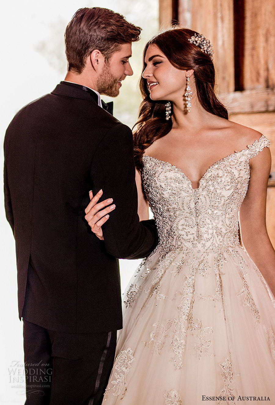 essense australia fall 2017 bridal off the shoulder sweetheart neckline heavily embellished beaded bodice romantic princess ball gown a line wedding dress chapel train (79) zv