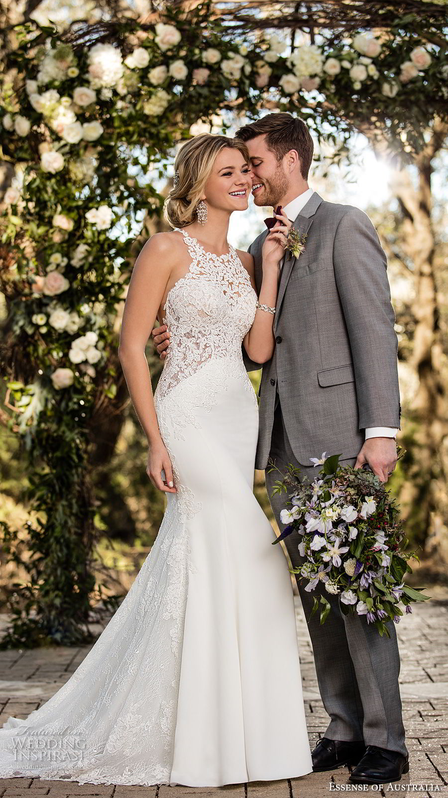 essense australia fall 2017 bridal sleeveless halter jewel neck heavily embellished bodice elegant mermaid wedding dress rasor back chapel train (42) mv