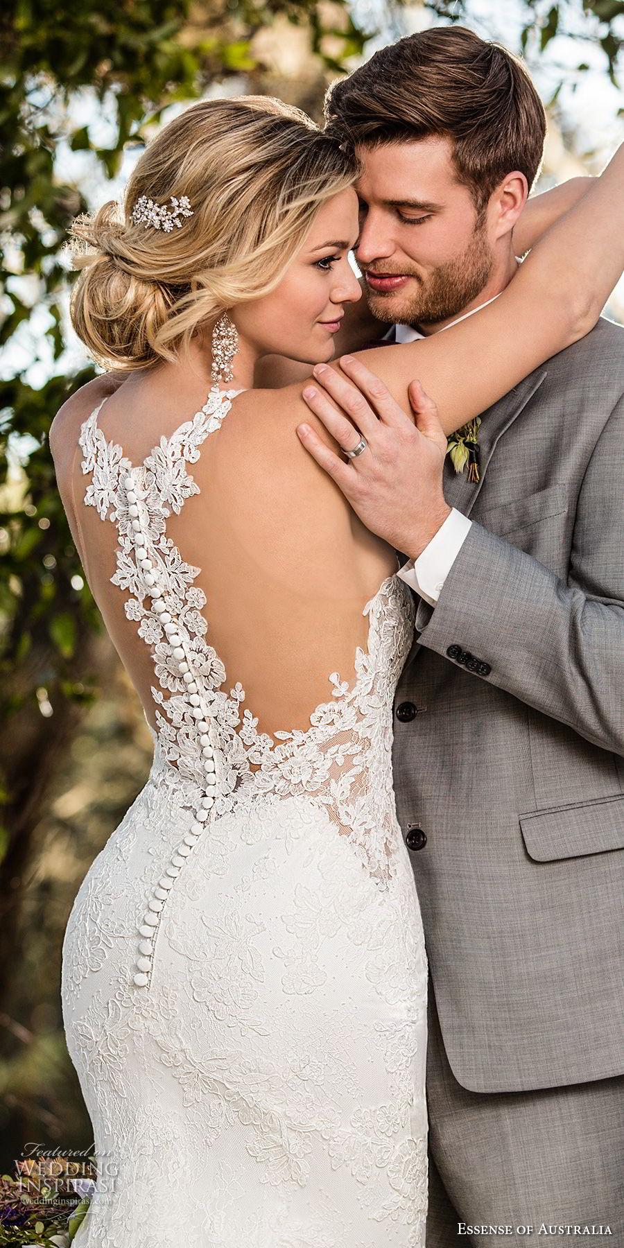 essense australia fall 2017 bridal sleeveless halter jewel neck heavily embellished bodice elegant mermaid wedding dress rasor back chapel train (42) zbv