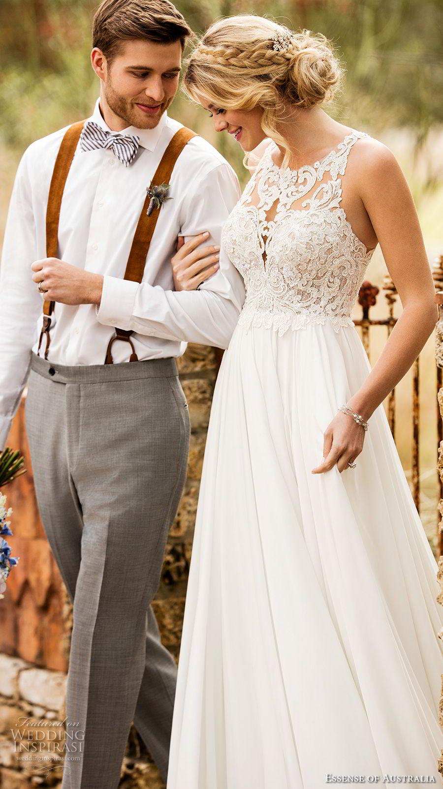 essense australia fall 2017 bridal sleeveless illusion jewel sweetheart neckline heavily embellished bodice romantic soft a  line wedding dress rasor back sweep train (71) mv