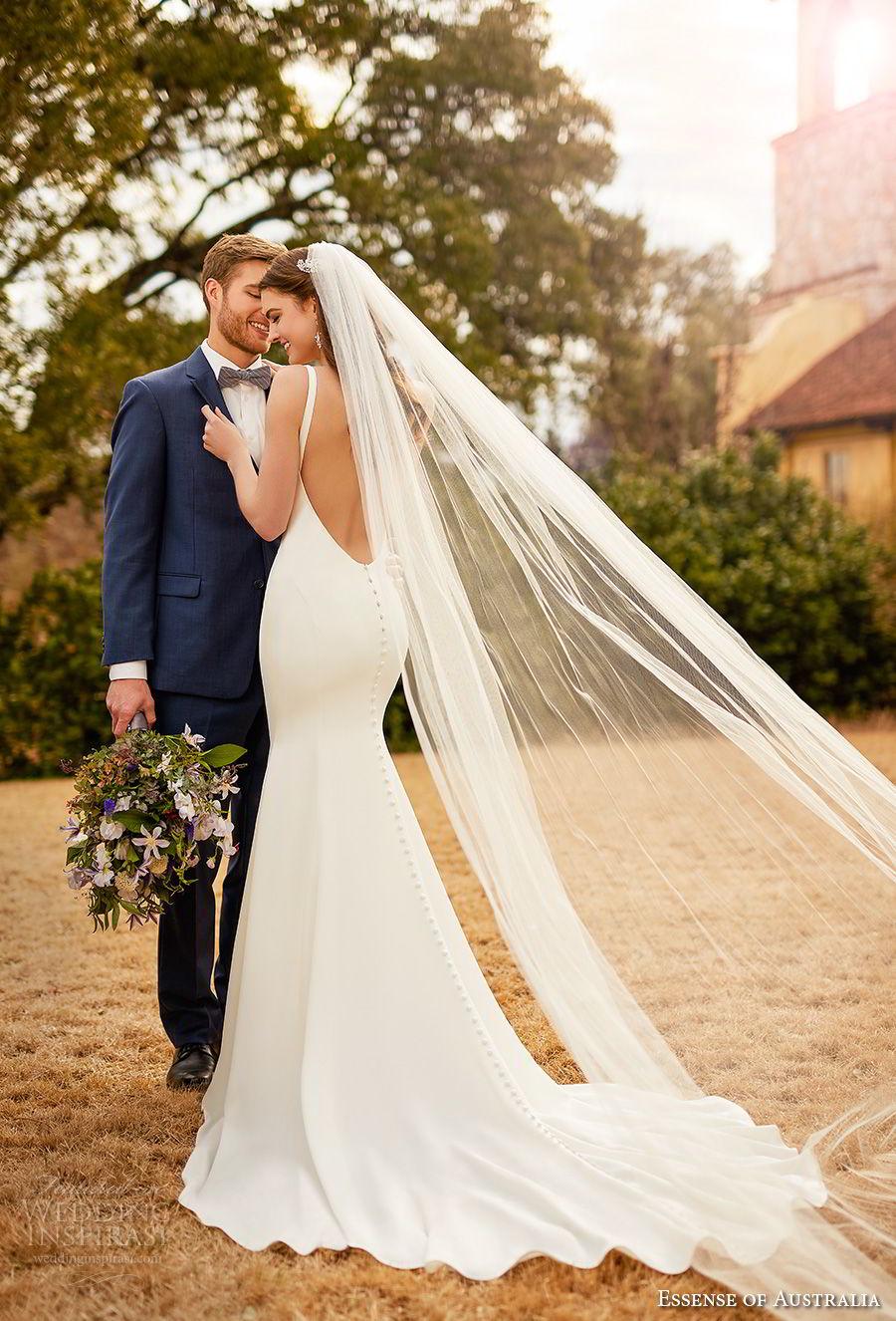 essense australia fall 2017 bridal sleeveless v neck simple clean elegant fit and flare sheath wedding dress low open back  medium train (78) bv mv