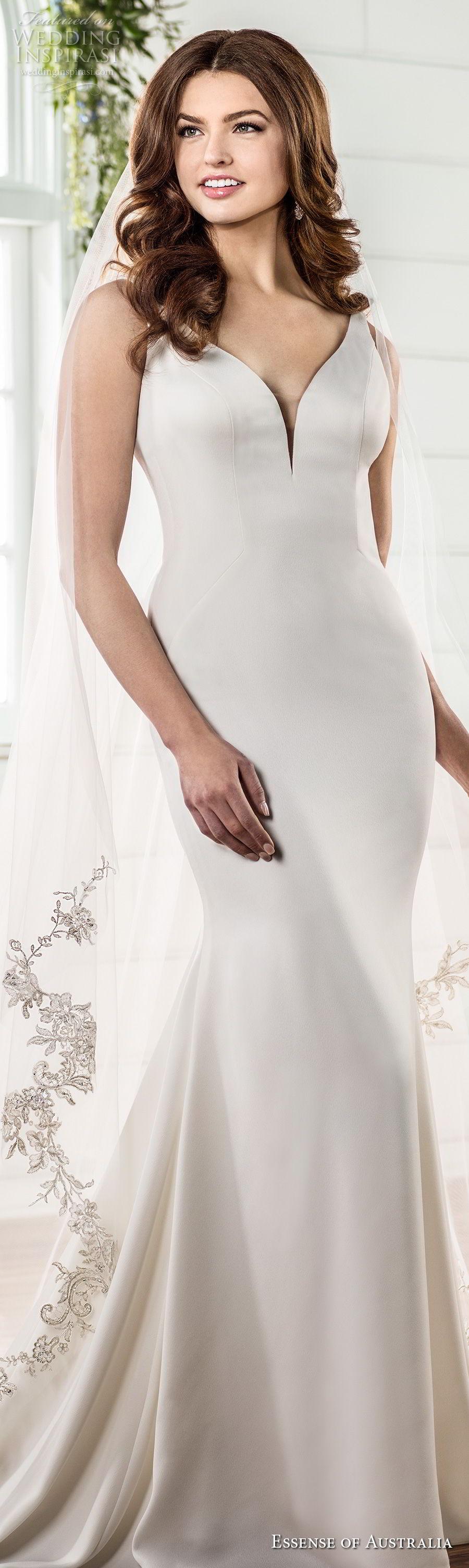essense australia fall 2017 bridal sleeveless v neck simple clean elegant fit and flare sheath wedding dress low open back  medium train (78) lv