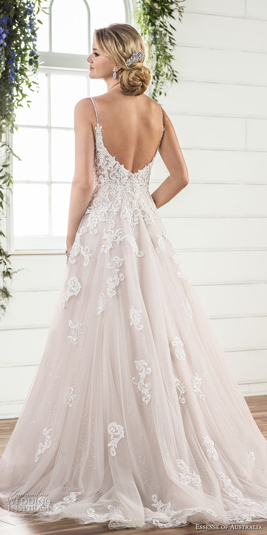essense australia fall 2017 bridal spaghetti strap sweetheart neckline heavily embellished bodice romantic blush color a line wedding dress open scoop back sweep train (63) bv