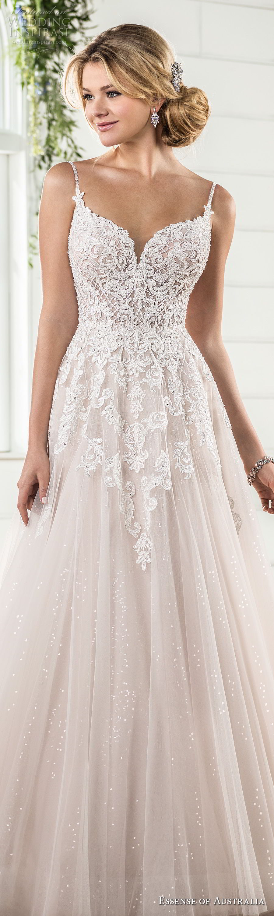 essense australia fall 2017 bridal spaghetti strap sweetheart neckline heavily embellished bodice romantic blush color a line wedding dress open scoop back sweep train (63) lv
