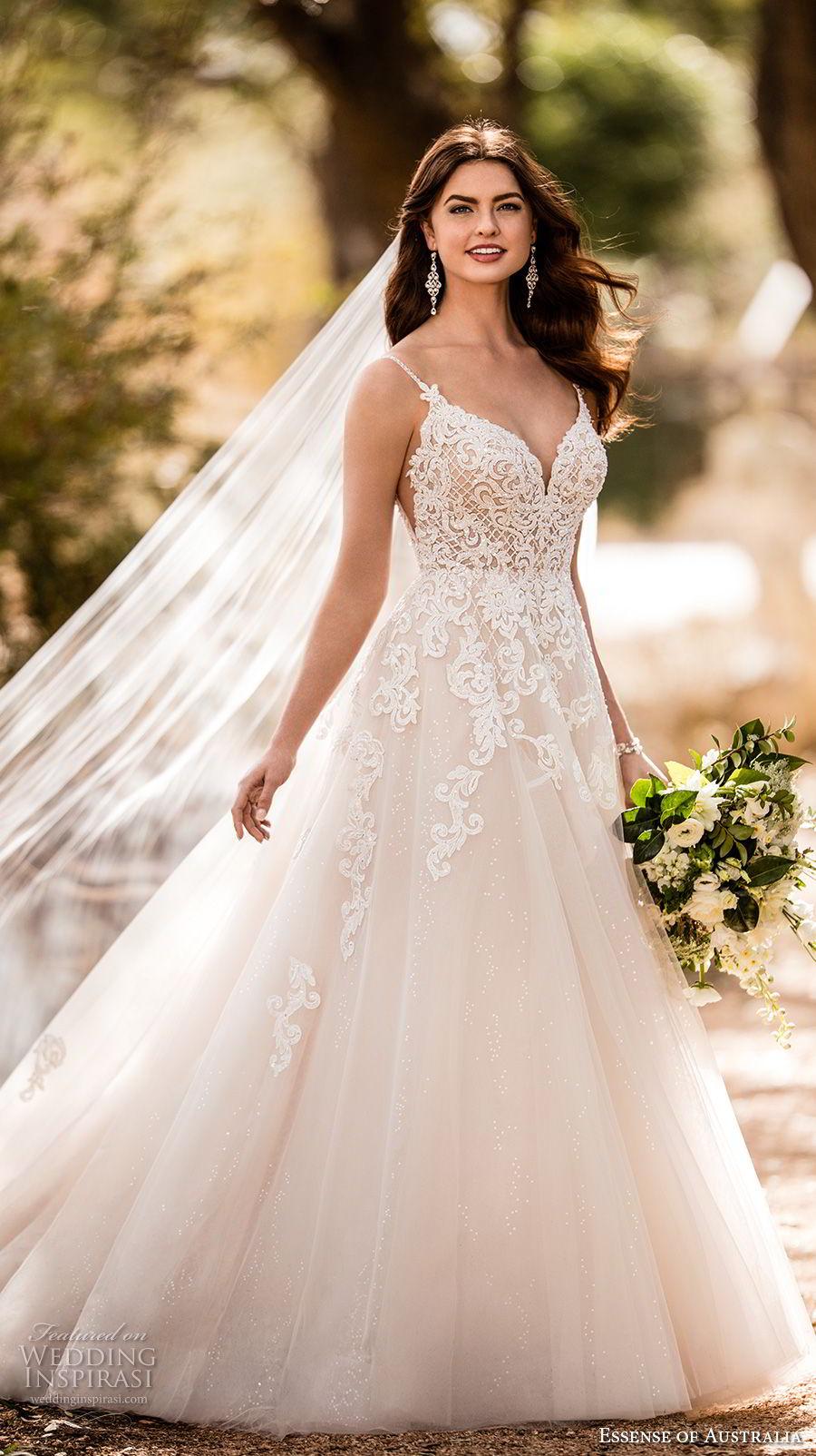 essense australia fall 2017 bridal spaghetti strap sweetheart neckline heavily embellished bodice romantic blush color a  line wedding dress open scoop back sweep train (63) mv
