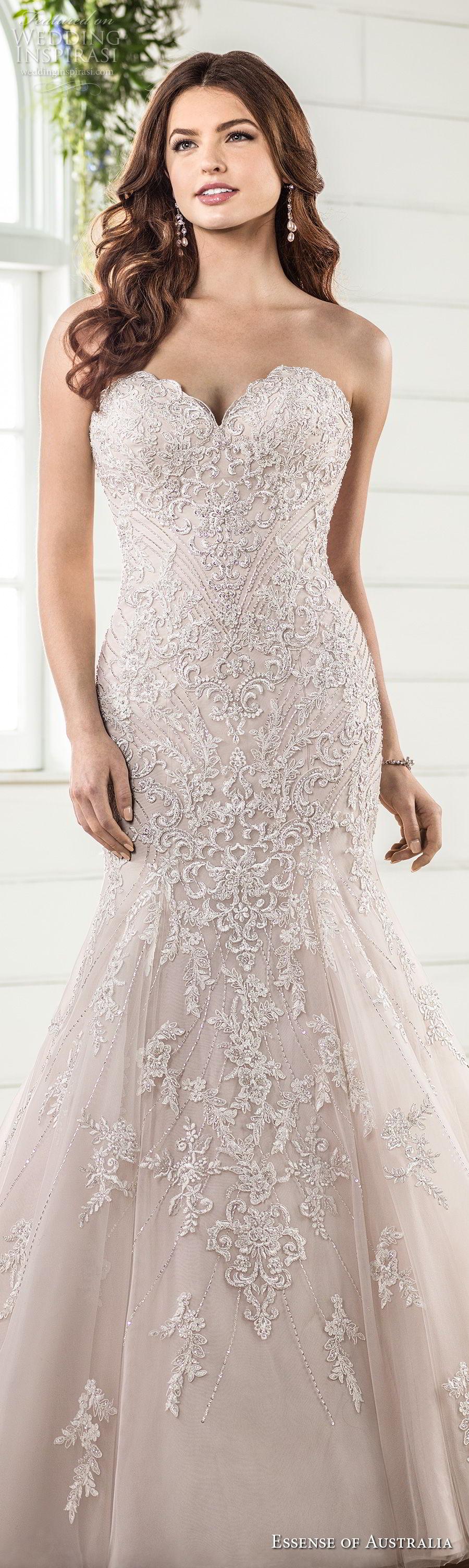 essense australia fall 2017 bridal strapless sweetheart neckline full embellishment elegant romantic blush color mermaid wedding dress chapel train (08) lv